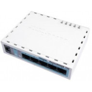 MIKROTIK RouterBOARD 750 with AR7240 CPU, 32MB RAM, 5 LAN ports, RouterOS L4, plastic case, PSU RB750