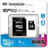 Mem SDMicro 4Gb Silicon SDHC Class4+adapter SP004GBSTH004V10SP