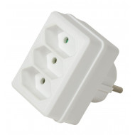 LogiLink Socket Adapter, 3x Euro, White LPS219