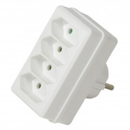 LogiLink Socket Adapter, 4x Euro, White LPS220