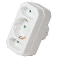 LogiLink Socket Adapter, 2x Euro and 1x Schuko, White LPS221