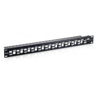 Equip Patch Panel - 769324 (Cat6A Keystone patch panel, 24 port, 1U, árnyékolt, fekete)