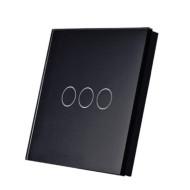 SmartWise T1R3B (R2)  hármas/csillár RF (rádiós), alternatív / keresztváltó kapcsoló / fali RF távirányító (fekete) SMW-KAP-T1R3B-R2