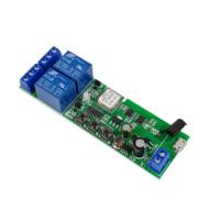 SmartWise 5V-32V két áramkörös WiFi + RF-es, Sonoff kompatibilis, távvezérelhető okos kapcsoló relé, kontakt kapcsolással és impulzus kapcsolási üzemm SMW-REL-532V-2RF