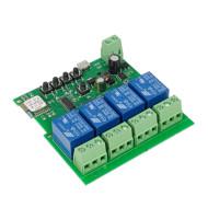 SmartWise 5V-32V négy áramkörös WiFi + RF-es, Sonoff kompatibilis, távvezérelhető okos kapcsoló relé, kontakt kapcsolással és impulzus kapcsolási üzem SMW-REL-532V-4RF-R2